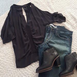 NWOT Black Silky Open-Sleeve Top